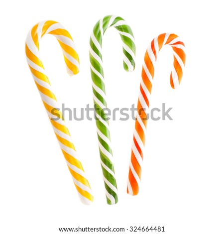 Christmas candy cane isolated on a white background - stock photo