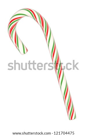 Christmas candy cane isolated on white background (3d illustration) - stock photo