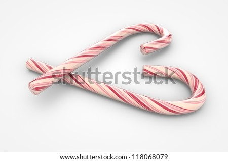 Christmas candy canes heart symbol (3d illustration) - stock photo
