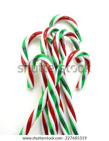 christmas candy canes isolated on white, selective focus