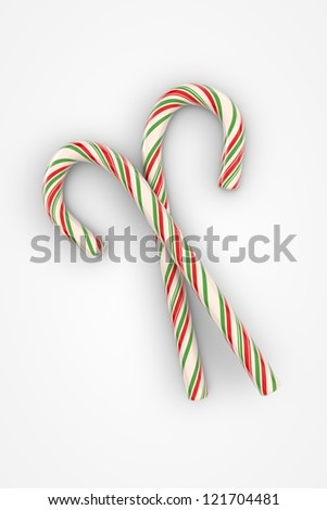 Christmas candy canes on white background (3d illustration) - stock photo