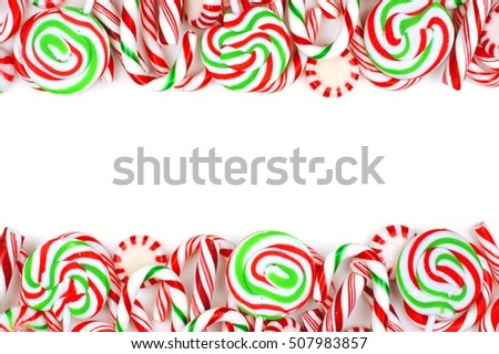Christmas Candy Double Border Lollipops Peppermints Stock Photo ...