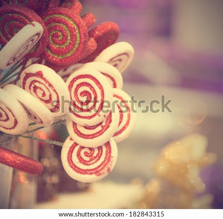 christmas candy in retro vintage filter - stock photo