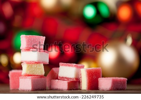 Christmas candy on a table. - stock photo