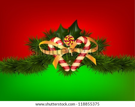 Christmas candy on red green backround/Christmas candy - stock photo