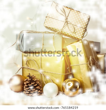 Christmas card. Background. Christmas gifts, balls, decorations. Boxes Holidays New Year Christmas mood Gold