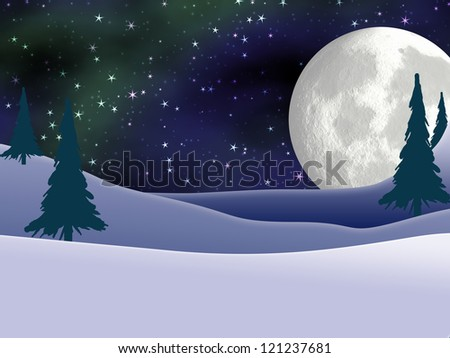Christmas Card background design of a full moon with Northern Lights (Aurora Borealis) and falling snow