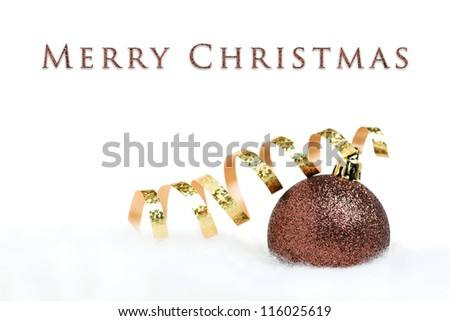 Christmas card - ball with ribbon on white background