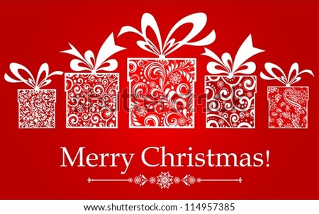 Christmas card. Celebration background with gift boxes and place for your text. illustration - stock photo