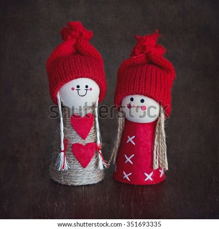 Christmas card.Christmas decoration toys over wooden background . - stock photo