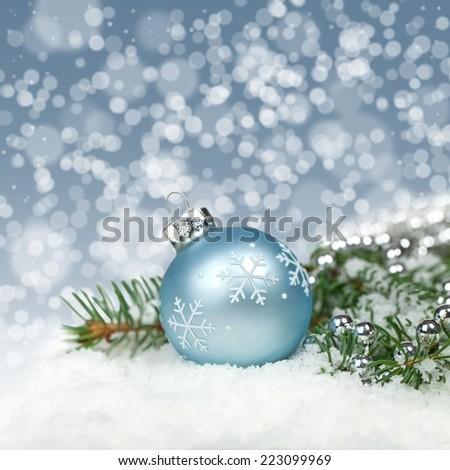 Christmas card. Christmas Decoration with snow - stock photo
