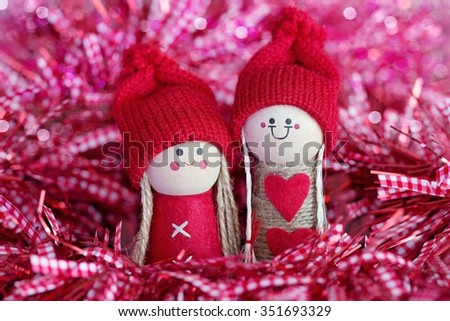 Christmas card.Christmas fun decorative figurines on a sparking background . - stock photo