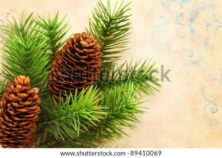 Christmas card - christmas tree branches - stock photo