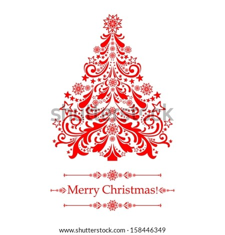 Christmas card. Christmas tree.  Illustration - stock photo