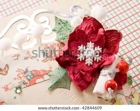 christmas card decorated with flower and snowflakes - stock photo
