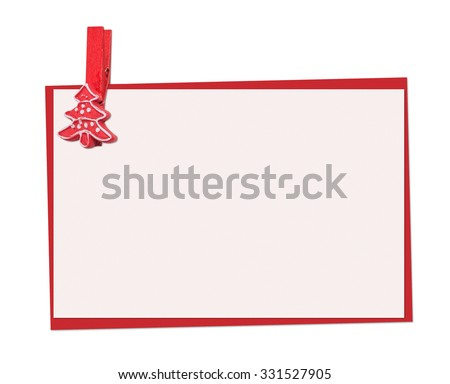 Christmas Card decorated with red spruce clothespegs (clothespin), isolated on the white - stock photo