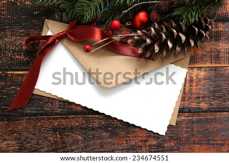 Christmas card decorations on colorful background
