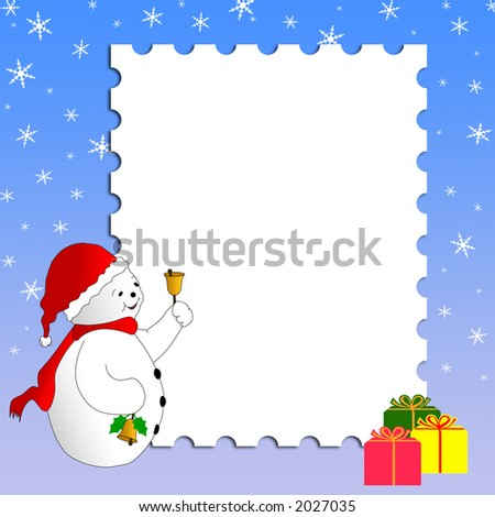 Christmas card design with snowman, gifts and snowflakes. Merry Christmas! - stock photo