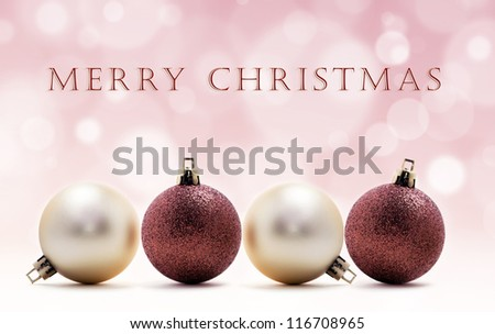 christmas card - four christmas balls