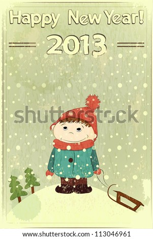 Christmas card -  little boy and sled on retro background - JPEG version - stock photo