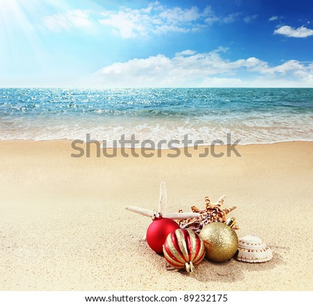 Christmas Card--Merry Christmas from Tropic. - stock photo