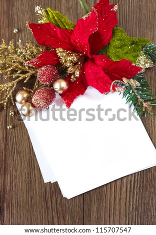 Christmas card note with space and christmas composition.