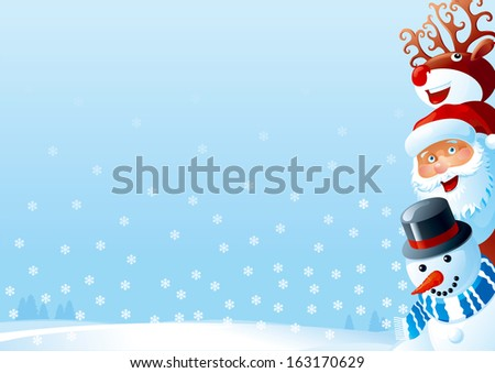 Christmas card of Santa Claus, snowman and Red-Nosed Reindeer  on winter snow landscape.  - stock photo