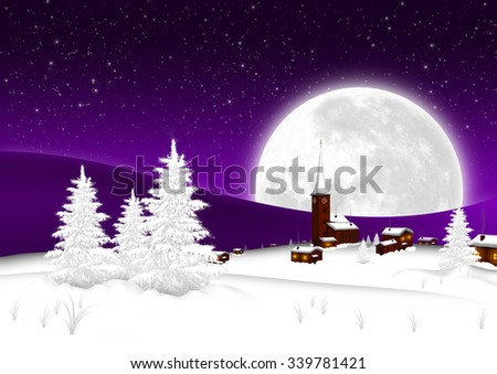 Christmas Card - Snowy Mountain Village with Big Full Moon and Starry Sky Background. Seasonal X-Mas Greeting Card Template for Wishes. Landscape Postcard - Night Sky with Violet Color Gradient - stock photo