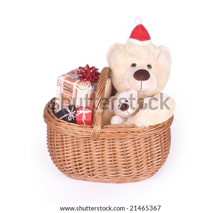christmas card - teedybears in wicker basket