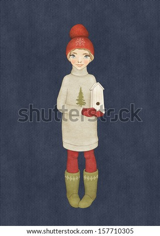 Christmas card template. Illustration of a cute girl enjoying winter season. - stock photo