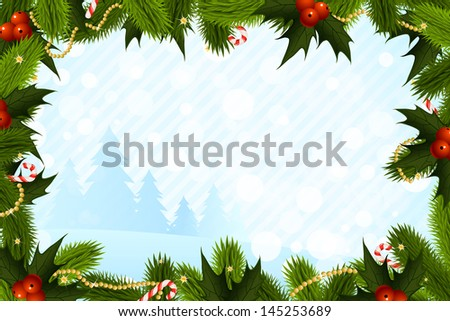 Christmas Card Template with Fir-Trees and Decorations - stock photo