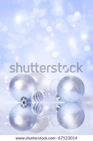 Christmas card. Three white spheres and streamer - stock photo