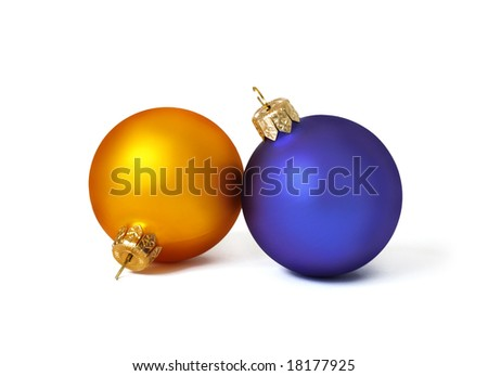 Christmas card. Two spheres on a white background