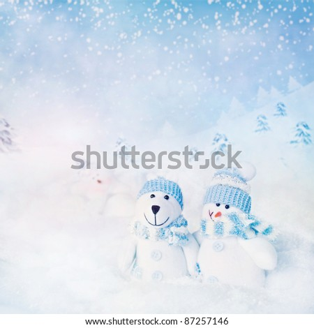 Christmas card. Winter background with polar bear and snowman and star  in the night - stock photo