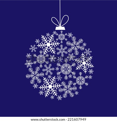 Christmas card with a ball of a snowflakes