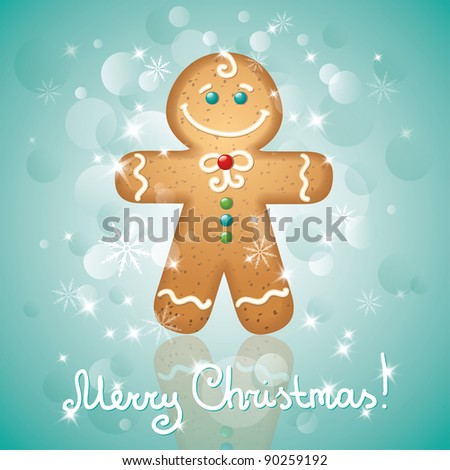 christmas card with a gingerbread and stars - stock photo