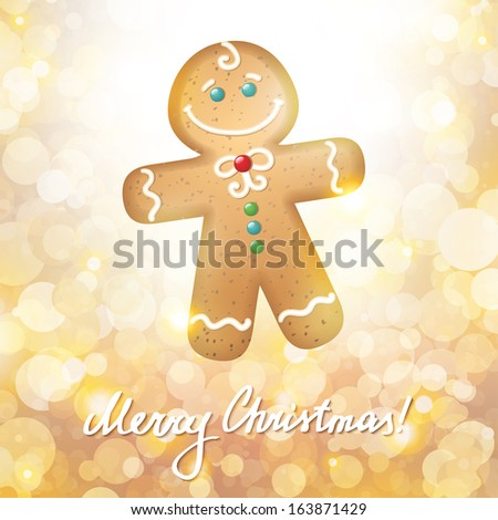 christmas card with a gingerbread on gold background - stock photo