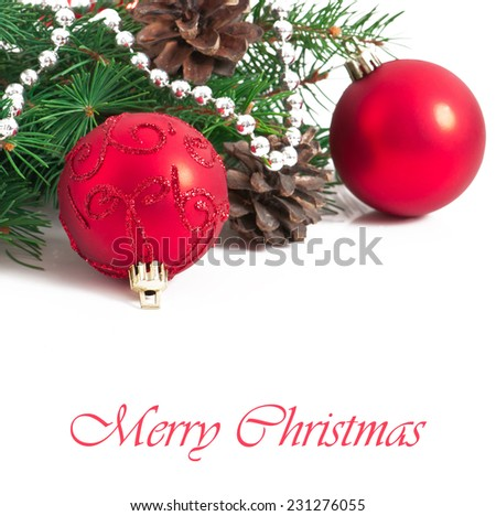 Christmas card with a red ball and fir branches