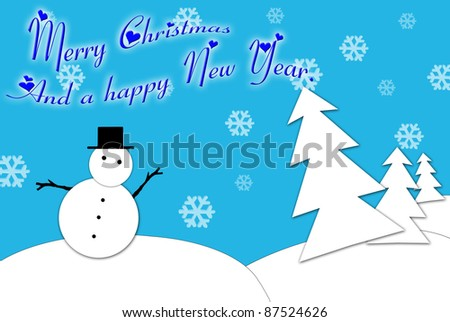 Christmas card with a snowman and a decorated tree in blue and white.