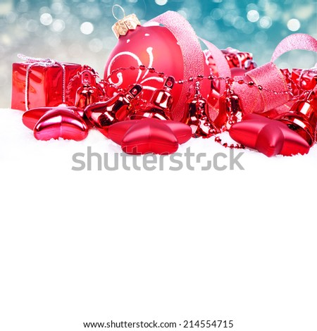 Christmas card with balls - stock photo