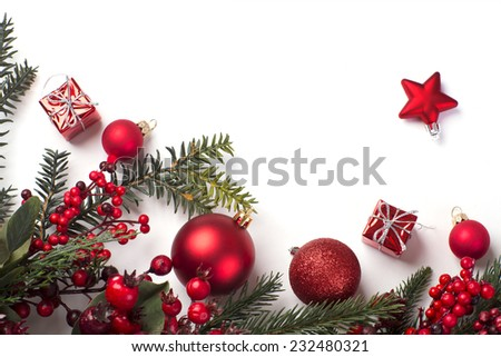 Christmas card with balls, a gift and a star, a background - stock photo