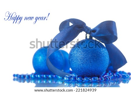 Christmas card with balls and ornaments on a white background