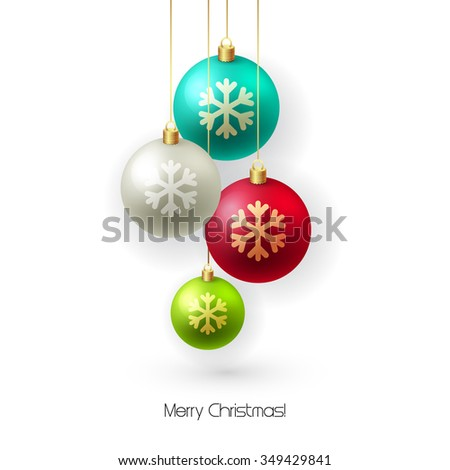 Christmas card with baubles. Christmas  tree decoration. Christmas balls isolated on white. Raster copy - stock photo
