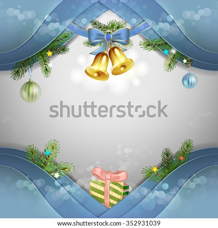 Christmas card with bells and bow - stock photo