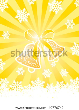 Christmas card with bells and snowflakes on gold background with rays - stock photo