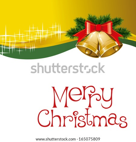christmas card with bells with christmas tree decorations - stock photo