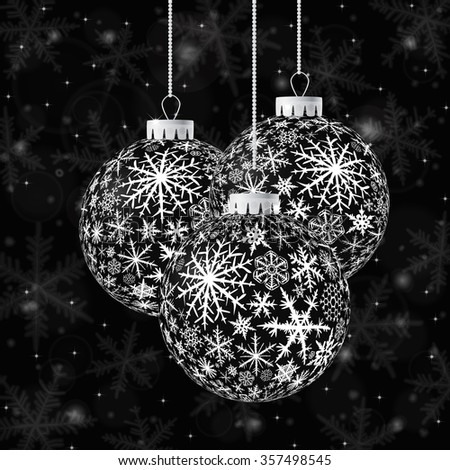 Christmas card with black balls and snowflakes on dark background. Raster version. - stock photo