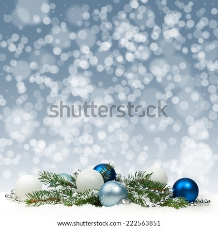 Christmas card with blue and white balls - stock photo