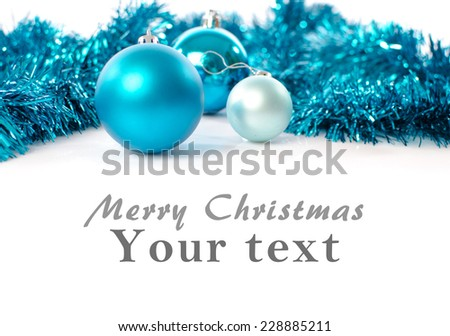 Christmas card with blue balls and blue garlands - stock photo