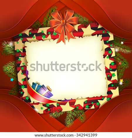 Christmas card with bow and old paper - stock photo